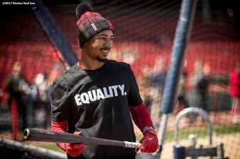 BOSTON, MA - APRIL 15: Mookie Betts #2 of the Boston Red Sox wears a shirt reading 'Equality' in honor of Jackie Robinson Day before a game against the Tamp Bay Rays on April 15, 2017 at Fenway Park in Boston, Massachusetts. (Photo by Billie Weiss/Boston Red Sox/Getty Images) *** Local Caption *** Mookie Betts
